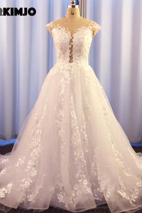 cap sleeve wedding dress, white wedding dresses, lace applique wedding dress, wedding gown, vestidos de novia, robe de mariee, elegant wedding dresses, wedding dresses for weddings
