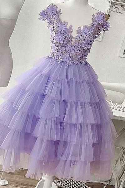 purple prom dresses, homecoming dresses short, cap sleeve prom dresses, tiered prom dresses, lavender prom dresses, 2021 prom dresses, prom dresses 2021, vestido de graduacion, cheap graduation dresses, floral prom dress