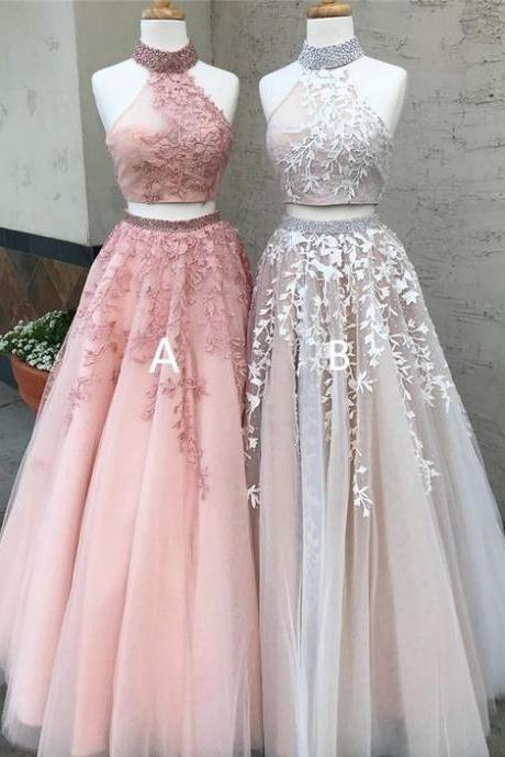2 piece prom dresses, high neck prom dress, beaded prom dress, lace applique prom dresses, 2021 prom dresses, prom dresses 2021, vestido de longo, cheap prom dresses, robe de soiree, evening gown