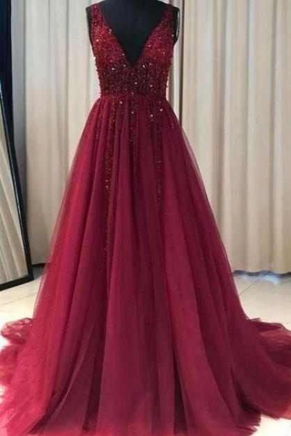 burgundy prom dress, v neck prom dresses, beaded prom dresses, 2021 prom dresses, senior prom dresses, 2020 prom dresses, sleeveless prom dress, sparkly prom dress, vestido de longo