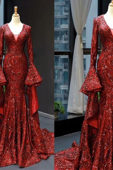 luxury evening dress, burgundy evening dresses, sparkly evening dress, modest evening dress, flare sleeve evening dresses, robe de soiree, vestido de fiesta, 2021 evening dresses, evening gown