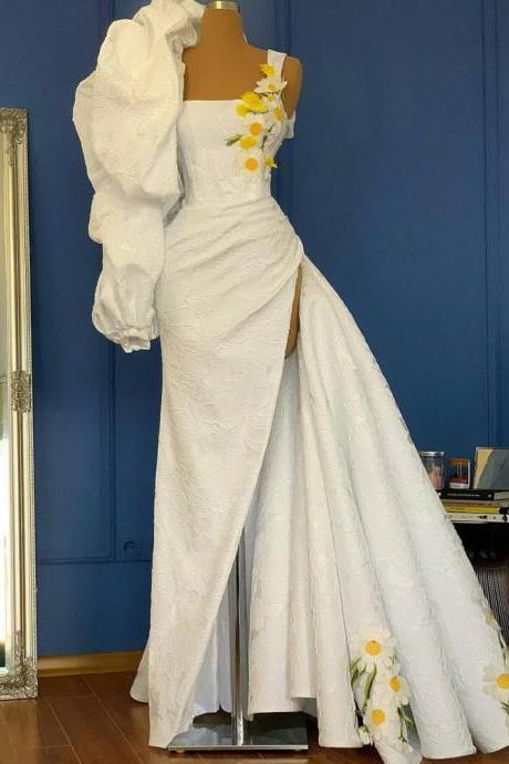 white lace prom dress, detachable skirt prom dress, elegant prom dresses, 2021 prom dresses, vestido de longo, robe de soiree, handmade flower prom dress, prom dresses 2020