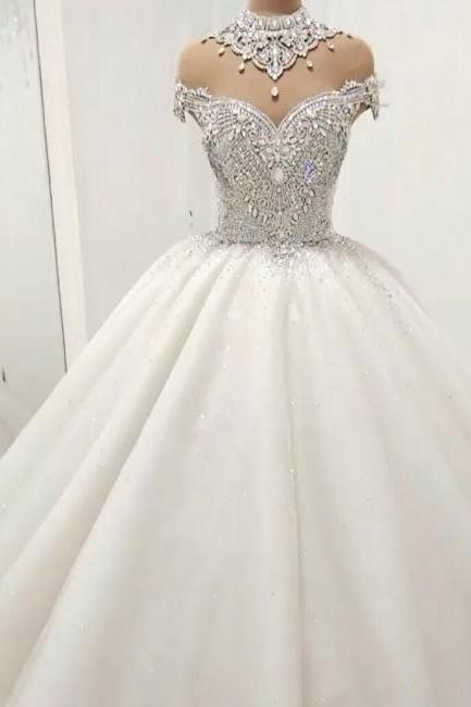 high neck wedding dress, crystal wedding dress, wedding ball gown, beaded wedding dresses, princess wedding dresses, vestido de novia, robe de mariee, luxury wedding dresses, wedding ball gown