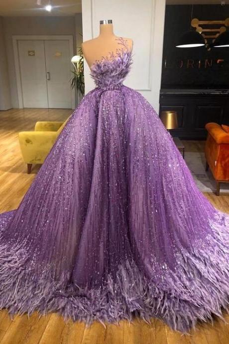 luxury prom dresses, purple prom dresses, sparkly prom dress, ball gown prom dresses, vestido de fiesta, feather prom dresses, 2021 prom dresses, vestido de longo, elegant prom dresses, prom ball gown, robe de soiree