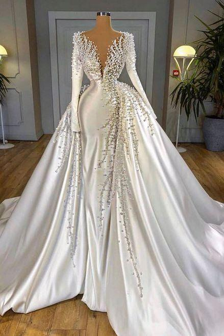 white prom dress, beaded prom dresses, 2021 prom dresses, detachable skirt prom dresses, peal prom dresses, robe de soiree, long sleeve prom dresses, prom dresses 2021, vestido de fiesta, satin prom dresses