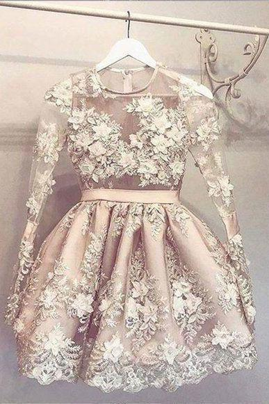 champagne prom dress, prom dresses short, 3d flowers prom dress, handmade flowers prom dresses, cheap graduation dresses, homecoming dresses, cocktail party dresses, vestido de festa de curto