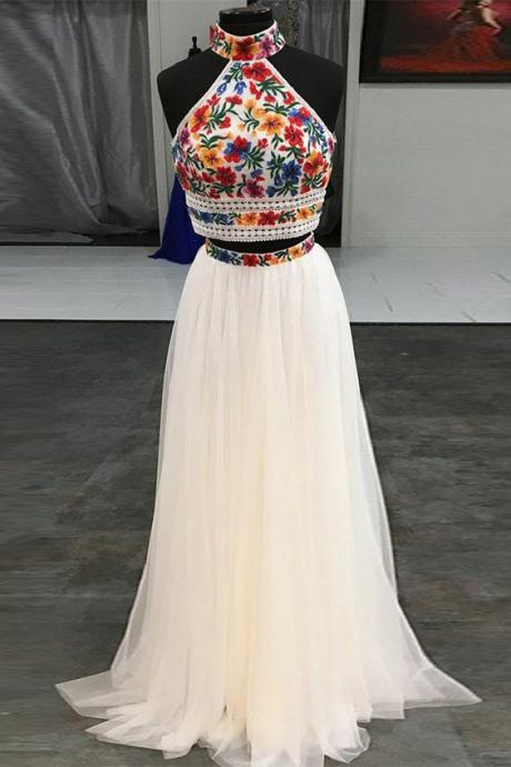 high neck prom dress, embrodiery applique prom dresses, white prom dress, a line prom dresses, simple prom dress, prom gown, vestido de fiesta, 2021 prom dresses, prom dresses long
