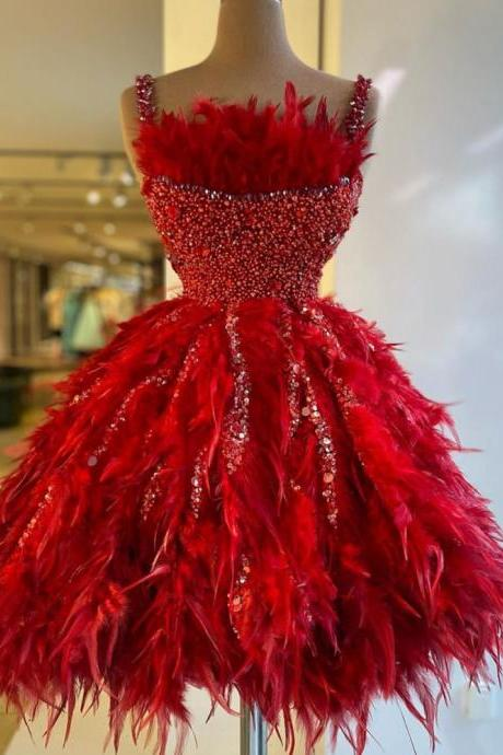 red prom dresses, homecoming dresses short, vestido de graduacion, feather prom dresses, beaded prom dresses, prom dresses short, vestido de festa, sparkly prom dresses, beaded prom dresses 2021