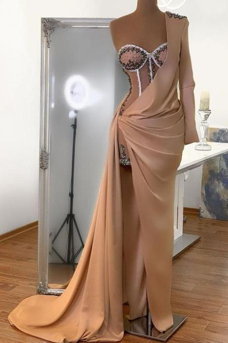 champagne evening dresses, beaded evening dresses, 2021 evening dress, crystal evening dresses, robe de soiree, evening dresses long, women fashion, vestido de fiesta, robe de soiree, cheap evening dresses, beaded evening dresses