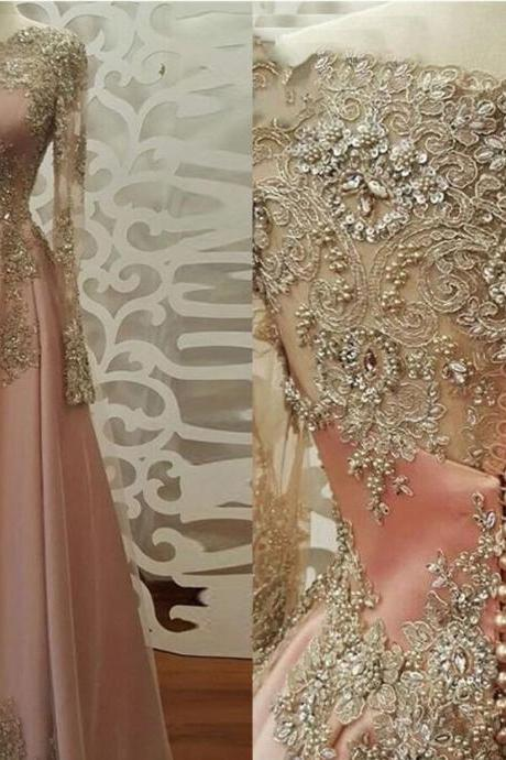 dusty pink prom dress, lace applique prom dress, vintage prom dresses, a line prom dress, muslim prom dresses, boat neck prom dresses, 2021 prom dress, real handmade work prom dress, prom ball gown