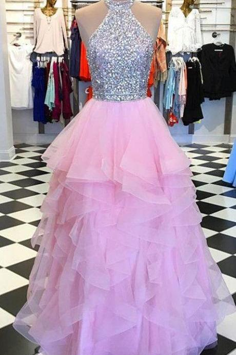 pink prom dresses, tiered prom dress, beaded prom dresses, vestido de fiesta, robe de soiree, a line prom dresses, cheap prom dresses, vestido de fiesta, simple prom dresses, prom ball gown