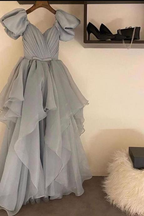 grey prom dress, chiffon prom dresses, short sleeve prom dress, a line prom dress, vestido de fiesta, tiered prom dress, prom dresses 2021, evening dress, vestido de longo