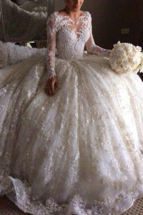 Saudi Arabia Wedding Dreses, Long Transparent Sleeve Wedding Gowns, Sweetheart Bridal Dresses, Lace Appliques Bridal Gowns, Vestidos de Noiva Bridal Dresses, 2016 Wedding Gowns, Hand Made Flowers Bridal Dress