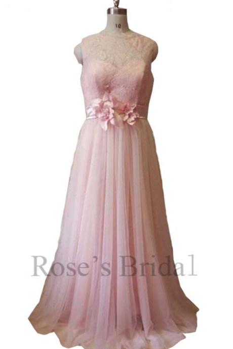 Real Bridesmaid Dresses, Lace Maid Of Honor Dresses, Pink Prom Dresses, Blush Evening Gowns, Custom Make Evening Dresses, Blush Prom Gowns, Long Evening Dresses, 2016 Evening Gowns
