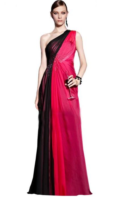 Red and Black Evening Dresses, One Shoulder Evening Gowns, Pleats Party Dresses, Draped Women Formal Dresses, Chiffon Evening Gowns For Women, 2016 Special Occasion Dresses