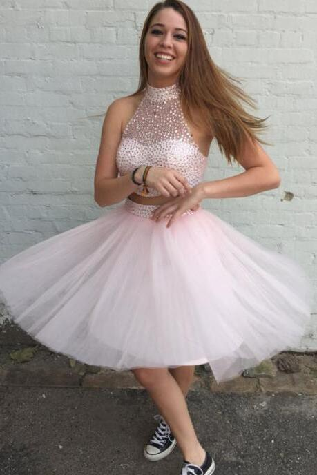 Two Piece Prom Dress, Sexy Homecoming Dress, Pink Homecoming Dress, Short Homecoming Dress, Tulle Prom Dress, Crystals Prom Dress, Cocktail Party Dress, Cheap Homecoming Dress, Homecoming Dresses 2016