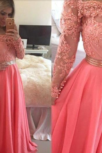 Long Sleeve Coral Prom Dress, Lace Prom Dresses, Coral Colored Prom Dress, Chiffon Prom Dress, Elegant Prom Dress, Long Prom Dress, Prom Dresses 2016, Formal Party Dress, Evening Gowns