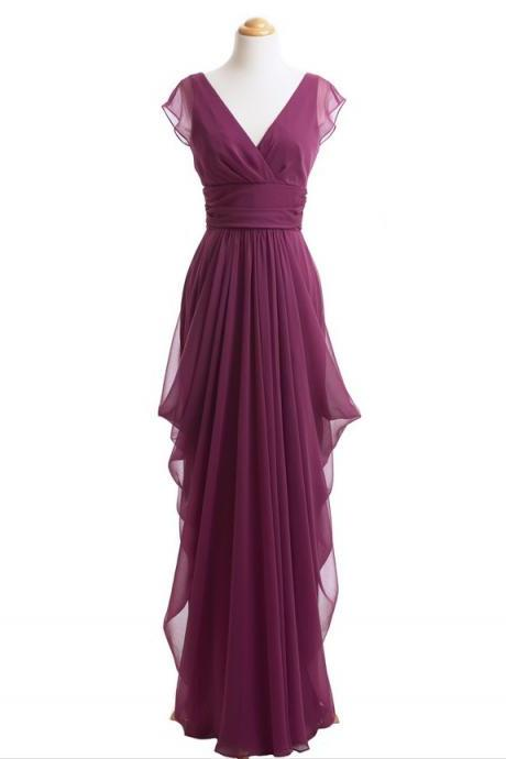 Real Photo Long Bridesmaid Dresses, Burgundy Bridesmaid Dress, Cap Sleeve Bridesmaid Dress, Chiffon Bridesmaid Dresses, Cheap Bridesmaid Dress, Elegant Bridesmaid Dresses, Bridesmaid Dresses 2016, Wedding Party Dress, Dresses For Wedding