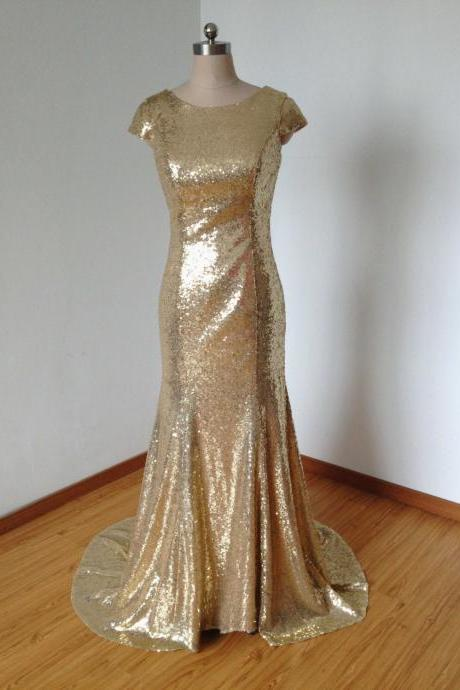 Gold Sequin Bridesmaid Dress, Cap Sleeve Bridesmaid Dress, Elegant Bridesmaid Dress, Long Bridesmaid Dress, Sparkly Bridesmaid Dress, Evening Dress 2016, Wedding Party Dress, Sequins Prom Dress, Formal Dresses 2015