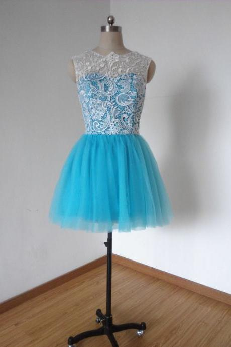Lace Bridesmaid Dress, Blue Bridesmaid Dress, Tulle Bridesmaid Dresses, Cheap Bridesmaid Dress, Short Bridesmaid Dress, Cocktail Dress, Party Dresses, Homecoming Dress 2016