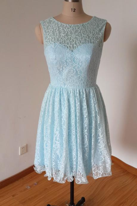 Light Blue Lace Crew Neck Sleeveless Short A-Line Wedding Guest Dress Featuring Bow Accent Open Back