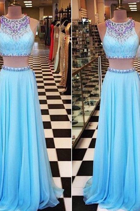 Blue Prom Dress, Two Piece Prom Dresses, Lace Prom Dress, Sexy Formal Dresses, Rhinestones Prom Dresses, Chiffon Prom Dress, Beaded Evening Dress, 2 Piece Prom Dresses, 2016 Prom Dresses
