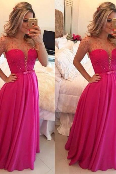 Chiffon Prom Dress, Hot Pink Prom Dresses, Long Sleeve Prom Dress, Lace Prom Dresses, Peals Evening Gowns, Evening Dress 2015, Elegant Prom Dress, Long Prom Dress, Prom Dresses 2016