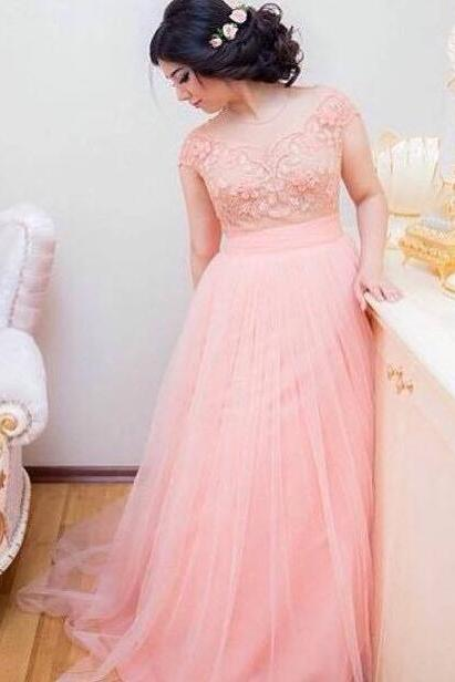 Pregnant Prom Dress, Pink Prom Dress, Lace Prom Dresses, Tulle Prom Dress, Plus Size Prom Dress, Long Prom Dresses, Elegant Prom Dress, Cheap Prom Dress, Cap Sleeve Prom Dress, Maternity Prom Dresses