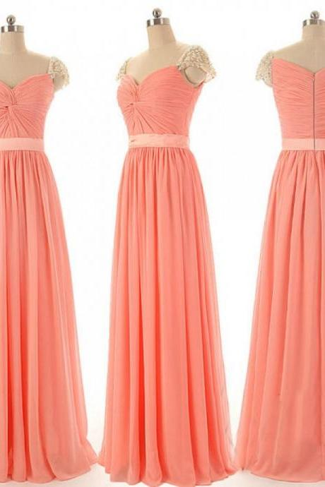 Coral Bridesmaid Dress, Long Bridesmaid Dresses, Beaded Bridesmaid Dress, Affordable Bridesmaid Dresses, Elegant Bridesmaid Dress, Dresses For Bridesmaid, 2016 Formal Dresses Women