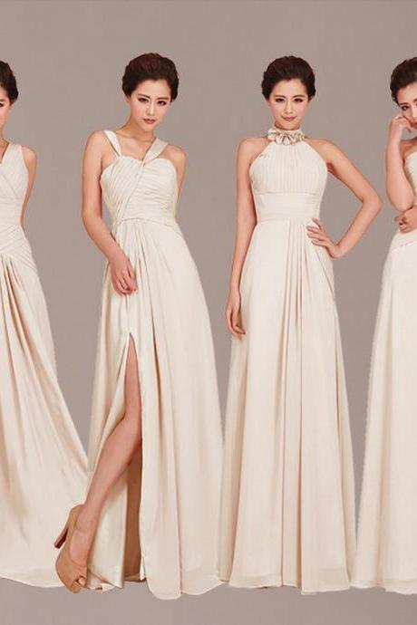 Mismatched Bridesmaid Dresses, Champagne Bridesmaid Dress, Long Bridesmaid Dress, Chiffon Bridesmaid Dress, Cheap Bridesmaid Dresses, Custom Bridesmaid Dress, Bridesmaid Dresses 2016, Bridesmaid Dresses For Wedding