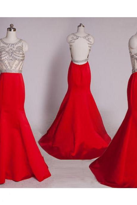 Mermaid Evening Dress, Red Evening Dress, Beaded Evening Dress, Long Evening Dress, Sexy Evening Dress, Backless Evening Dress, Formal Dresses 2016, Cheap Formal Dress, Satin Formal Dress