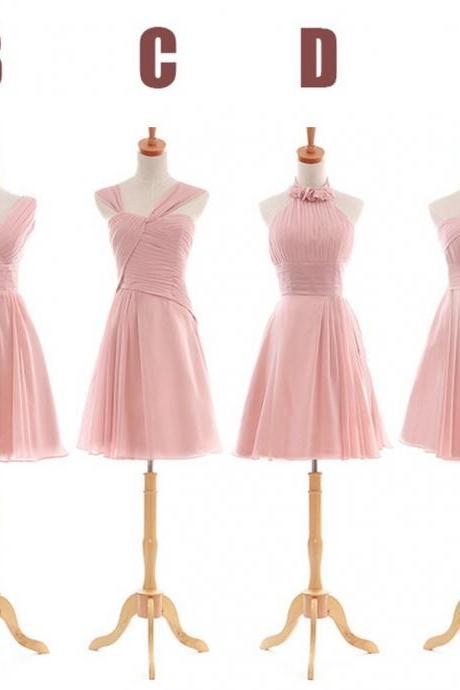 Short Pink Bridesmaid Dress, Chiffon Bridesmaid Dresses, Mismatched Bridesmaid Dresses, Junior Bridesmaid Dress, Cheap Bridesmaid Dresses, Custom Bridesmaid Dress, Bridesmaid Dresses 2016, Wedding Party Dresses