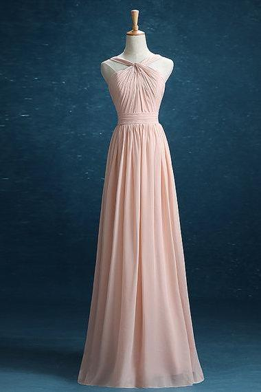 Pink Long Bridesmaid Dress, Chiffon Bridesmaid Dress, Halter Bridesmaid Dress, 2016 Bridesmaid Dress, Cheap Bridesmaid Dress, Wedding Party Dresses, Blush Pink Bridesmaid Dress