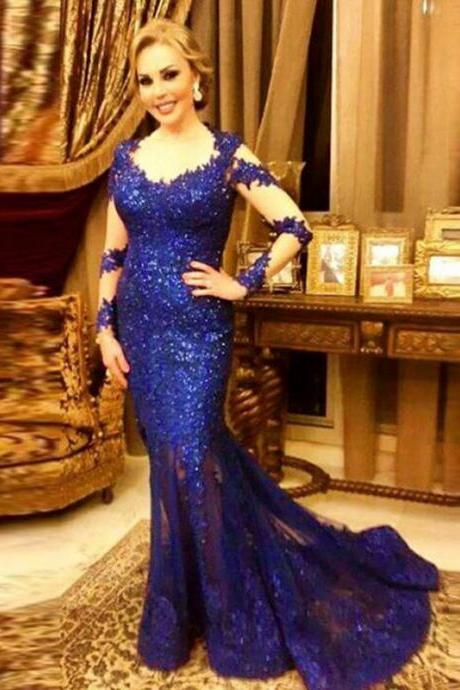 Long Sleeve Evening Dress, Mermaid Evening Dress, Cheap Formal Dress, Royal Blue Evening Dress, Sequin Evening Gown, Lace Evening Dress, Gorgeous Evening Dress, 2016 Formal Dresses