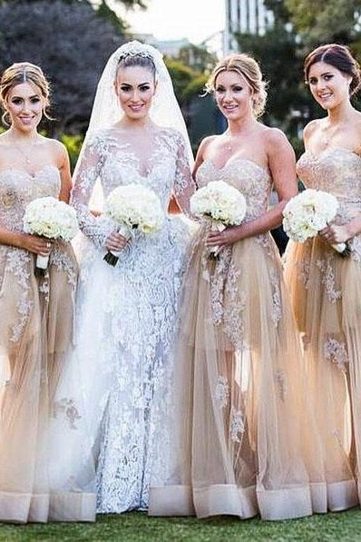 Champagne Bridesmaid Dress, Tulle Bridesmaid Dress, Long Bridesmaid Dress, Lace Applique Bridesmaid Dress, Sweetheart Neckline Bridesmaid Dress, Cheap Bridesmaid Dress, Charming Bridesmaid Dress