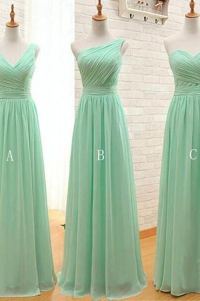 Mismatched Bridesmaid Dresses, Mint Green Bridesmaid Dress, Chiffon Bridesmaid Dress, Long Bridesmaid Dresses, Cheap Bridesmaid Dress, Wedding Party Dress, 2016 Bridesmaid Dresses Women