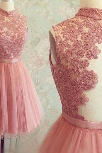Pink Homecoming Dress, Lace Applique Homecoming Dress, Tulle Homecoming Dress, Short Homecoming Dress, A Line Homecoming Dress, Cheap Homecoming Dress, Party Dresses 2016, High Neck Homecoming Dress, 2016 Homecoming Dress