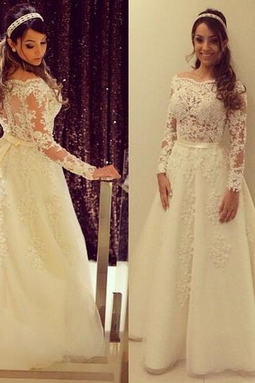 A Line Wedding Dress, Long Sleeve Wedding Dress, Ivory Wedding Dress, Lace Wedding Dress, Gorgeous Wedding Dress, Elegant Wedding Dress, Cheap Bridal Dress