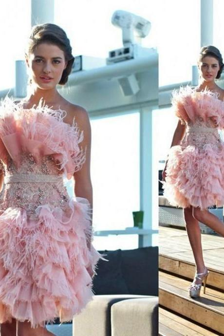 Feather Homecoming Dress, Short Homecoming Dress, Pink Homecoming Dress, Sexy Homecoming Dress, Cocktail Dress, Knee Length Party Dress, 2016 Homecoming Dress