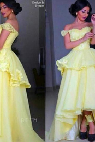 A Line Prom Dress, Pale Yellow Prom Dress, Cap Sleeve Prom Dress, Elegant Prom Dress, High Low Prom Dress, Lace Prom Dress, Cheap Prom Dress, Prom Gown 2016