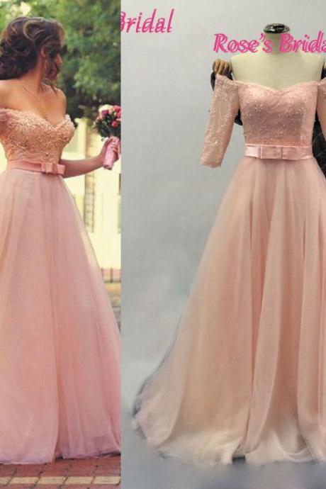 Pink Prom Dress, Half Sleeve Prom Dress, V Neck Prom Dress, Lace Prom Dress, Elegant Prom Dress, Cheap Prom Dress, Real Photo Prom Dress, Custom Prom Dress, Long Prom Dress, Tulle Prom Dress, Prom Gown 2016