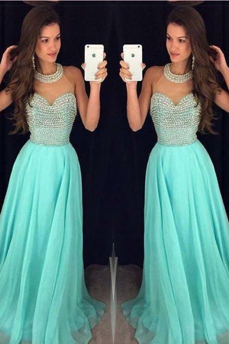 Mint Green Prom Dress, Beaded Prom Dress, Chiffon Prom Dress, Long Prom Dress, Elegant Prom Dress, Formal Dresses 2016, Prom Dress 2015, Custom Prom Dress