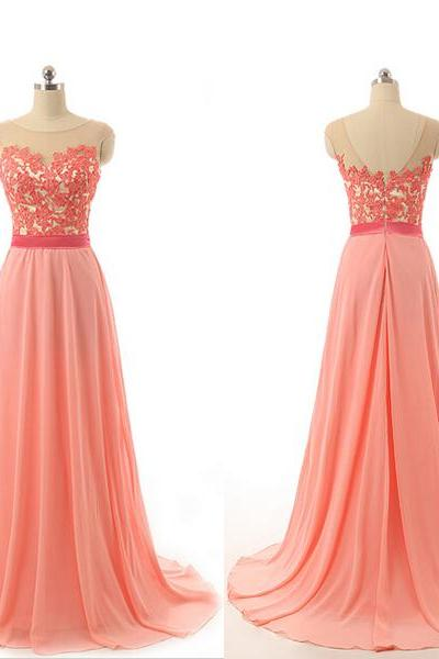 Coral Prom Dress, Lace Prom Dress, Chiffon Prom Dress, Long Prom Dress, Cheap Prom Dress, Elegant Prom Dress, 2016 Prom Dresses, Real Photos Prom Dress, Custom Prom Dress