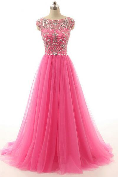 Cap Sleeve Prom Dress, Pink Prom Dress, Beaded Prom Dress, A Line Prom Dress, Tulle Prom Dress, Long Prom Dress, Gorgeous Prom Dress, Cheap Prom Dress, Formal Party Dress