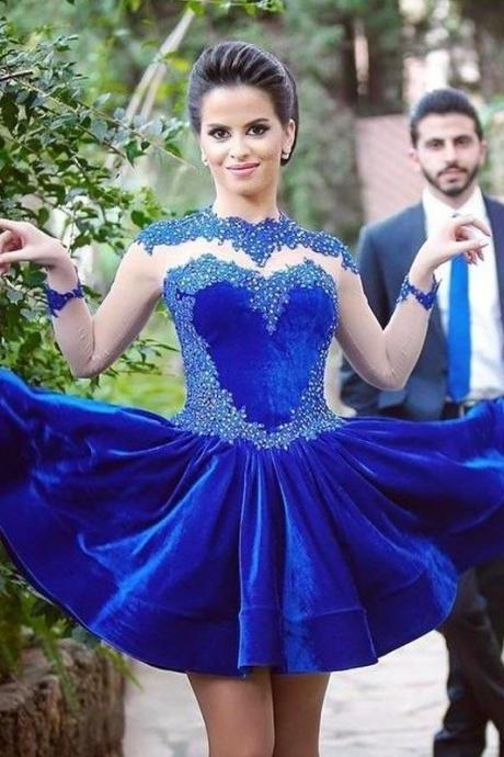 Royal Blue Homecoming Dress, Short Homecoming Dress, Lace Homecoming Dress, Cheap Party Dress, Cocktail Dress, Long Sleeve Graduation Dress, Gorgeous Prom Dress, Sparkly Homecoming Dress