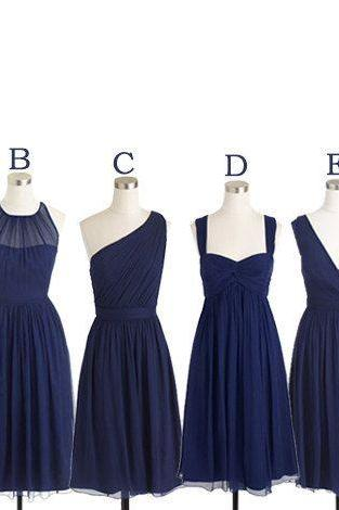 Short Bridesmaid Dress, Navy Blue Bridesmaid Dress, Mismatched Bridesmaid Dress, Cheap Bridesmaid Dress, Cute Bridesmaid Dress, Junior Bridesmaid Dress, Custom Bridesmaid Dress, 2016 Bridesmaid Dresses