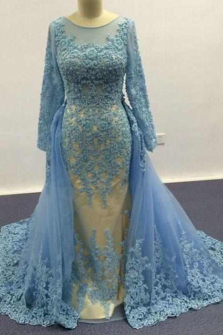 Blue Evening Dress, Detachable Evening Dress, Lace Evening Dress, Real Image Evening Dress, Peals Evening Dress, Affordable Evening Dress, Charming Formal Dress, 2016 Evening Dress, Mermaid Evening Dress, Sheer Crew Evening Dress, Long Evening Dress, Formal Party Dresses