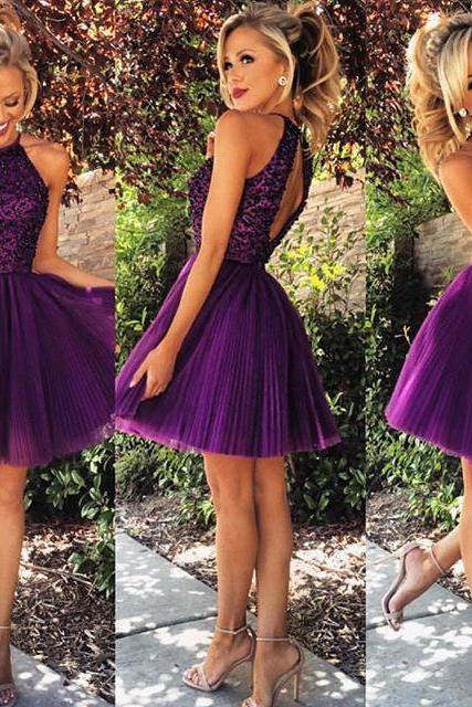 Halter Prom Dress, Short Prom Dress, Beaded Prom Dress, Purple Prom Dress, Ruffles Prom Dress, Sexy Prom Dress, Backless Party Dress, Cocktail Dresses, Homecoming Dress 2016