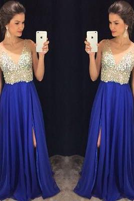 Side Slit Prom Dress, Royal Blue Prom Dress, Long Prom Dress, Chiffon Prom Dress, Rhinestones Prom Dress, V Neck Prom Dress, Prom Dresses 2015, Elegant Prom Dress, Vestido De Festa, Cheap Formal Dresses
