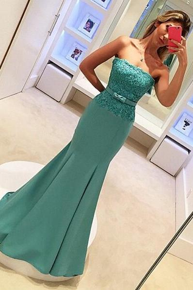 Mermaid Evening Dress, Turquoise Blue Evening Dress, Strapless Evening Dress, Lace Evening Dress, Elegant Evening Dress, Long Evening Dress, 2016 Evening Dress, Cheap Formal Dress, Sexy Formal Dress